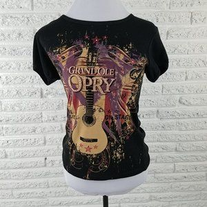 Grand Ole Opry Womens Tee Shirt Black Jewels Bling